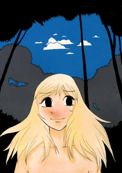 Naken flicka i skogen